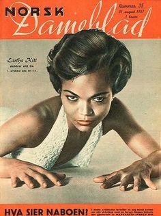 Eartha Kitt as cover girl for the Norwegian magazine Dameblad, 1957           via: alyoung.org