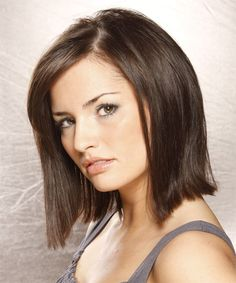 Medium Straight Casual Bob Hairstyle - Dark Brunette - side view