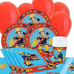 Fireman Sam Party Pack for 8 Contains 8 x Paper Plates 8 x Paper Cups 16 x Paper Napkins 1 x Plastic Tablecover 10 x 11 Plain Latex Balloons Fireman
