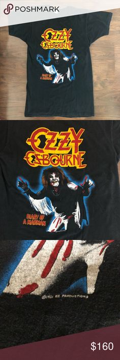 """VINTAGE RARE Ozzy Osbourne Shirt I am selling off a few pieces of my vintage band shirt collection.   All of my shirts were either purchased from the show or during that era by myself or a family member.    As I approach 40 I have some great memories associate with these shirts & want to see them live on & create new memories for you.   PLEASE REVIEW ALL PHOTOS CAREFULLY AND READ ALL INFORMATION.  PRICED ACCORDINGLY! Graphic VIBRANT!  Measurements:  Armpit to Armpit: 16.5"""" Length (top of…"""