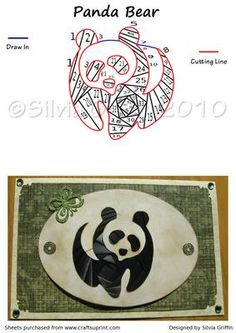Panda Bear on Craftsuprint designed by Silvia Griffin - Great Iris folding pattern for children, travel, Friends especially if they are from China. Thank you for considering my creations. - Now available for download!