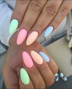 27 easy to copy pastel rainbow nails (get .- 27 easy to copy pastel rainbow nails (get these colors) – nail art – - Summer Acrylic Nails, Best Acrylic Nails, Acrylic Nails Pastel, Pastel Nail Polish, Nail Designs Spring, Nail Art Designs, Nails Design, Spring Nail Art, Nail Colors For Spring