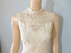 Vintage Inspired High Neck wedding Dress HIPPIE by MuseClothing