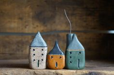 Set Of Three Miniature Cob Houses - Hand Sculpted Clay Houses - Ready To Ship