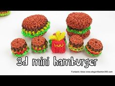 3D HAMBURGER Charm - hook only. Designed and loomed by ElegantFashion360. Click photo for YouTube tutorial. 08/29/14.