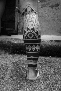 Maori half leg tattoo back Maori half leg tattoo