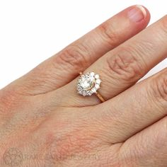 18K Cluster Moissanite Engagement Ring Oval Halo by RareEarth :: Etsy