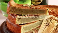 Κέικ με πράσινο τσάι και σάλτσα ανγκλέζ (anglaise)