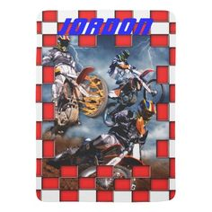 Freestyle motocross with checkered flags baby boy blanket sold to a customer in North Carolina. #motorcycle #speed #race #mud #dirt #boys #motox
