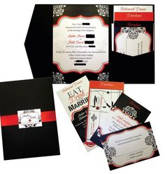 Red Teal Black And White Wedding Invitation