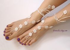 Barefoot Sandals IVORY FLOWER, beach wedding accessory, ecru foot jewelry, nude shoes, lace shoes, bridesmaids gift,bellydance, flower girl on Etsy, $15.00
