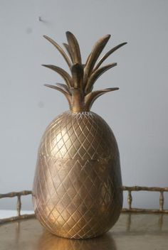 5 and a half inch Gorgeous Brass Pineapple. Home Decor. Brass Pineapple with Box Top. Piña Catchall. Storage. Ice bucket