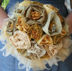 Golden Fabrics Bouquet by CottonGinEvents on Etsy, $85.00
