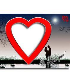Postal de San Valentín Amor en el lago, con forma de corazón rojo. http://www.fotoefectos.com