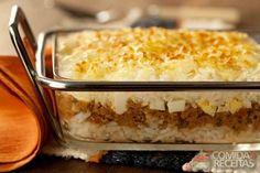 Receita de Arroz de forno com carne moída e queijo em receitas de arroz, veja essa e outras receitas aqui!