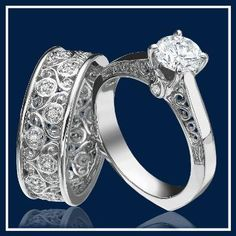 Koroosh & Valencia Original Design  Antique Style Platinum  Engagement Ring   and Wedding Band Set with Filigree work   and Diamond Accents.