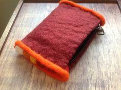 £5.00 Felt bobbles purse in dark red with assorted coloured bobbles trim.  Handmade in Nepal.  #Fairtrade #Felt #Nepal #Purse #Bobbles