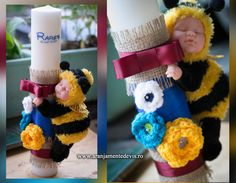 Lumanare botez cu albinuta. www.aranjamentedevis.ro Candle Art, Crochet Necklace, Crochet Hats, Candles, Baby, Baptisms, Knitting Hats, Crochet Collar, Infants