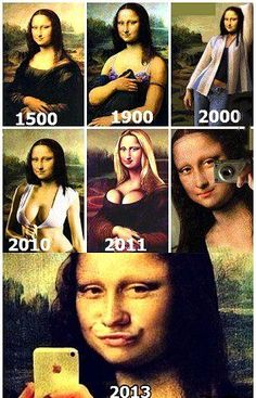 Funny evolution of Mona Lisa Funny Quotes, Funny Memes, Jokes, Funny Videos, Funny Gifs, Funny Captions, Disney Memes, Funny Posts, I Laughed