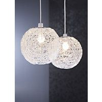 Wire Ball Pendant - Silver Effect - 24cm homebase
