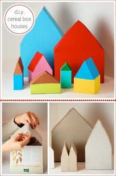 D.I.Y. CEREAL BOX HOUSES BY BELLA DIA. I'm thinking white for Xmas... ?