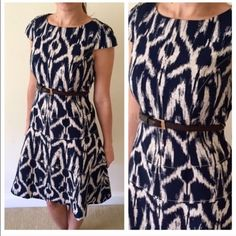 Ikat Navy and Cream Fit & Flare belted dress Short sleeves - Size 4 - waist belt - zipper in back Anne Klein Dresses Western Dresses, Indian Dresses, Western Outfits, Western Wear, Casual Dresses, Fashion Dresses, Short Sleeve Dresses, Short Sleeves, Kurta Designs
