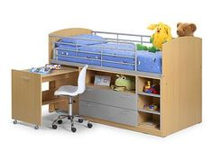 A practical and fun wooden mid sleeper bed frame, featuring a pull out desk and under-bed storage. Mid Sleeper Cabin Bed, High Sleeper Bed, Cabin Bed With Storage, Bed Storage, Storage Ideas, Beds Uk, Kid Beds, Bedroom Bed, Bedroom Furniture