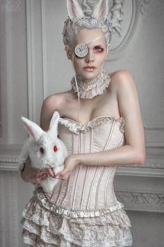 Stanislav Istratov - Fashion Photography - Fantasy - White Rabbit - Alice In Wonderland - Dream - Corset - Couture - Dark