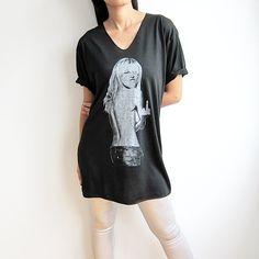 Heidi Klum American German Supermodel Actress Black V Neck Women T Shirt Size L. $13.99, via Etsy.