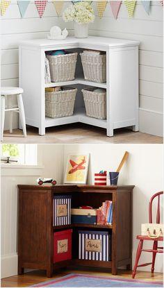 corner storage in kids room