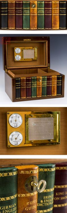 """20th C. Dunhill Walnut Humidor w/ Book Front. Materials: Walnut, cedar, brass, glass and leather; Color: Brown - Dim: Approximate Measurement: 8"""" x 12.75"""" x 9.25""""; Approximate Weight: 9.5 lbs."""