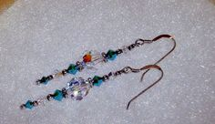 925 Silver  Swarovski Clear AB and Turquoise  Blue by dsmenagerie