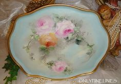 """FABULOUS - William Guerin - Limoges France - 16"""" Tray - Hand Painted - Romantic Victorian Bouquet - Tea Roses - Lush Greenery - Coin Gold Border - French Vintage Heirloom"""