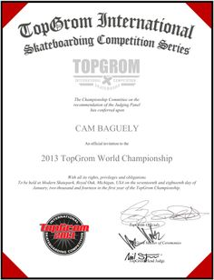 CAM BAGUELY The Championship, Skate Park, Michigan, Hold On, Competition, Invitations, Olsen, Stone, Robert Smith
