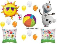 """OLAF """"IN SUMMER"""" FROZEN HAPPY BIRTHDAY PARTY BALLOONS Decorations Supplies Snow"""