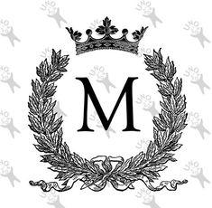 Vintage Monogram Initial Letter M Crown Instant by UnoPrint M Wallpaper, Alphabet Wallpaper, Cute Patterns Wallpaper, Vintage Monogram, Vintage Lettering, Vintage Words, Vintage Images, Digital Backdrops, Initial Letters