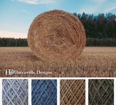 'Hay Bale' color palette featuring our flyWHEEL yarn in Birch Bark, Cheshire, Meadows, and Spoonwood.