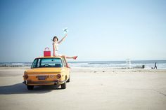 the beach, the car - bmw model 2002 (not year mind you), the free whimsy felt the kate spade-wearing lady. adorable