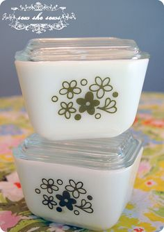 Spring Blossom Pyrex; my fav pattern! Have one of these refrigerator dishes, super cute!