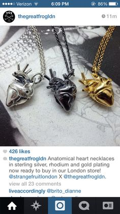 anatomical heart  necklace - the great frog london