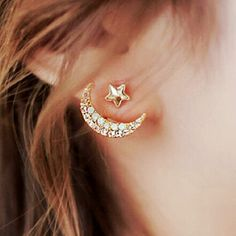 Bling Bling Moon and Stars Stud Earrings for Girls-Attractive Nightclub Accessories Idea