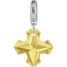 Swarovski® 87009 BeCharmed Crystal Greek Cross Charm in Crystal Metallic Sunshine (001METSH)