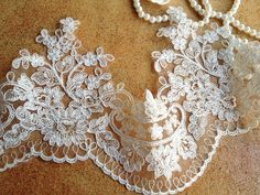 Graceful Ivory Alencon Lace Trim Embroidered Retro Tulle Lace Wedding Veil Bridal Lace Trim by lacelindsay on Etsy