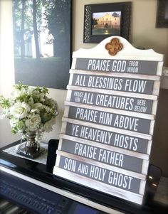 Mary & Martha~home~  Vintage Announcement Board.  Reminiscent of those church attendance announcement boards..sets a nostalgic memory of 4 beloved hymns and worship songs. Includes TWO  Double sided sets of tiles.  Songs include:  The Doxology, The Revelation Song, Blessed Be the Name and In Christ Alone.  Chalkboard tiles to add your own faith can be added.   www.mymaryandmartha.com/rachel