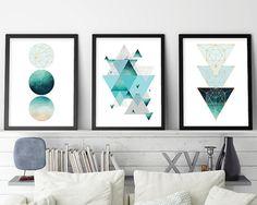 Set of 3, Geometric Print, Geometric Poster, Scandinavian Modern, Scandinavian Print, Scandinavian Art, Minimalist Art, Aqua, Rose Gold