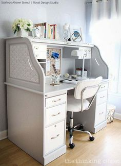 home office stenciled inspiration, home decor, home office, painting, wall decor
