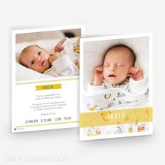 Babykarte Sonnige Akzente 15 x 21cm - Dankeskarte.com Banner, Bassinet, Frame, Inspiration, Home Decor, Thanks Card, Contemporary Design, Birth, Picture Banner