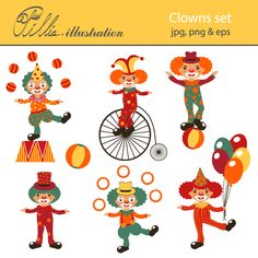 This cute Clowns clipart set comes with 7 adorable graphics.