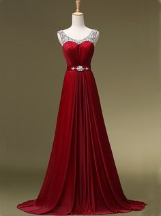 Buy Simple Dress 2015 Hot-selling A-line Sequined Burgundy Long Chiffon Prom Dresses/Party Dresses CHPD-7005 Special Occasion Dresses under US$ 143.99 only in SimpleDress.
