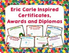 Eric Carle Inspired Certificates, Awards and. by Amy Biddison - Teaching in Blue Jeans Classroom Behavior Chart, Classroom Themes, Classroom Routines, Perfect Attendance Certificate, Birthday Certificate, Caterpillar Preschool, Hungry Caterpillar, End Of The Year Celebration, Classroom Welcome